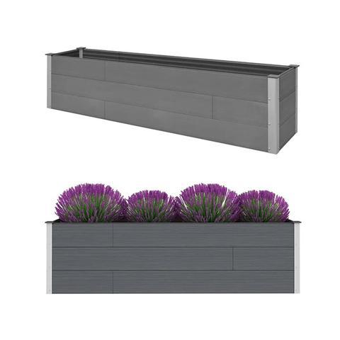 Garden Planter Grey 200 X 50 X 54 Cm Wpc 1 item