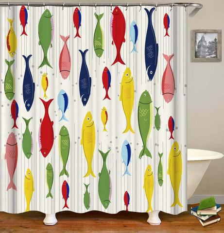 Multi Colored Fish Shower Curtain 1 item