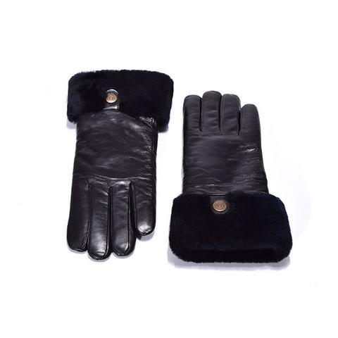 Ugg Australian Sheepskin Leather Gloves Black Womens Chloe Small