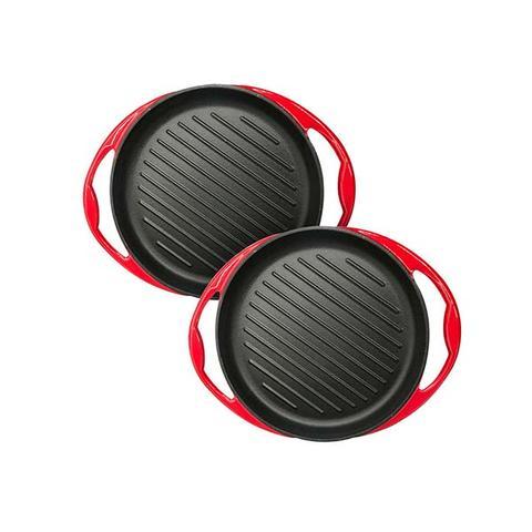 Soga 2x Enamel Porcelain 26cm Cast Iron Frying Pan Non Stick Coating 1 item