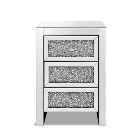Bedside Table Nightstand Side End 3 Drawers Mirrored Glass Furniture 1 item