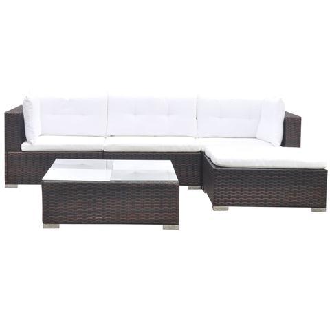 Poly Rattan 14-piece Garden Sofa Set - Brown 1 item