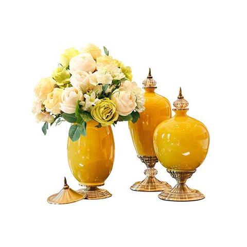 Soga 3x Ceramic Oval Flower Vase With White Flower Set Yellow 1 item
