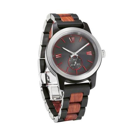 Mens Handcrafted Engraving Ebony And Rosewood Watch 1 item