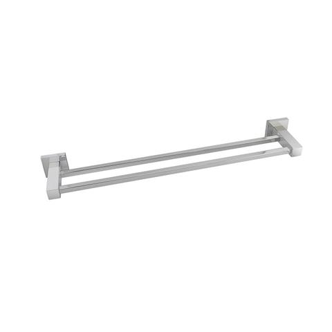 Square Double Towel Rail 800 Mm Stainless Steel Wall Mounted Chrome 1 item