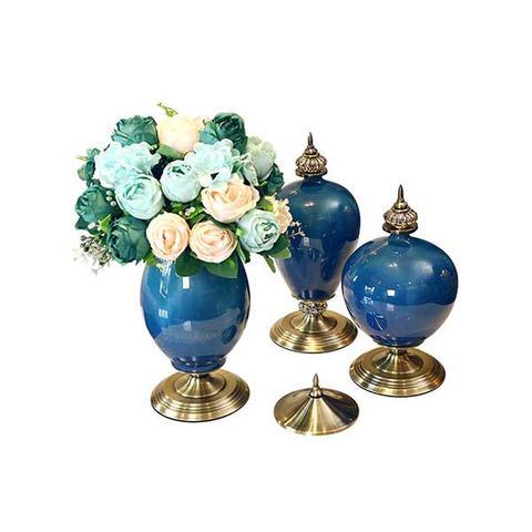 Soga 3x Ceramic Oval Flower Vase With Blue Flower Set Dark Blue 1 item