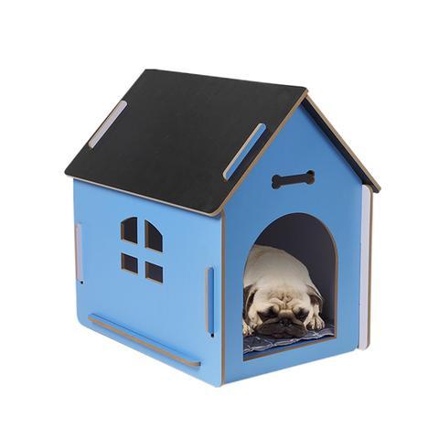 Wooden Dog House Pet Kennel Timber Indoor Cabin Large Blue 1 item