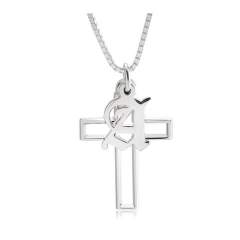 Cross Necklace With Initial 1 item