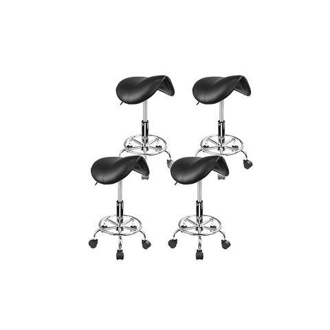4 Pieces Black Saddle Salon Stool 1 item