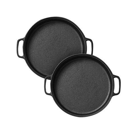 Soga 2x Cast Iron 30cm Frying Pan Skillet Non Stick Sizzle Platter 1 item