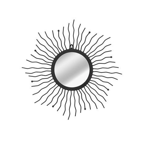 Wall Mirror Sunburst Black 60 cm