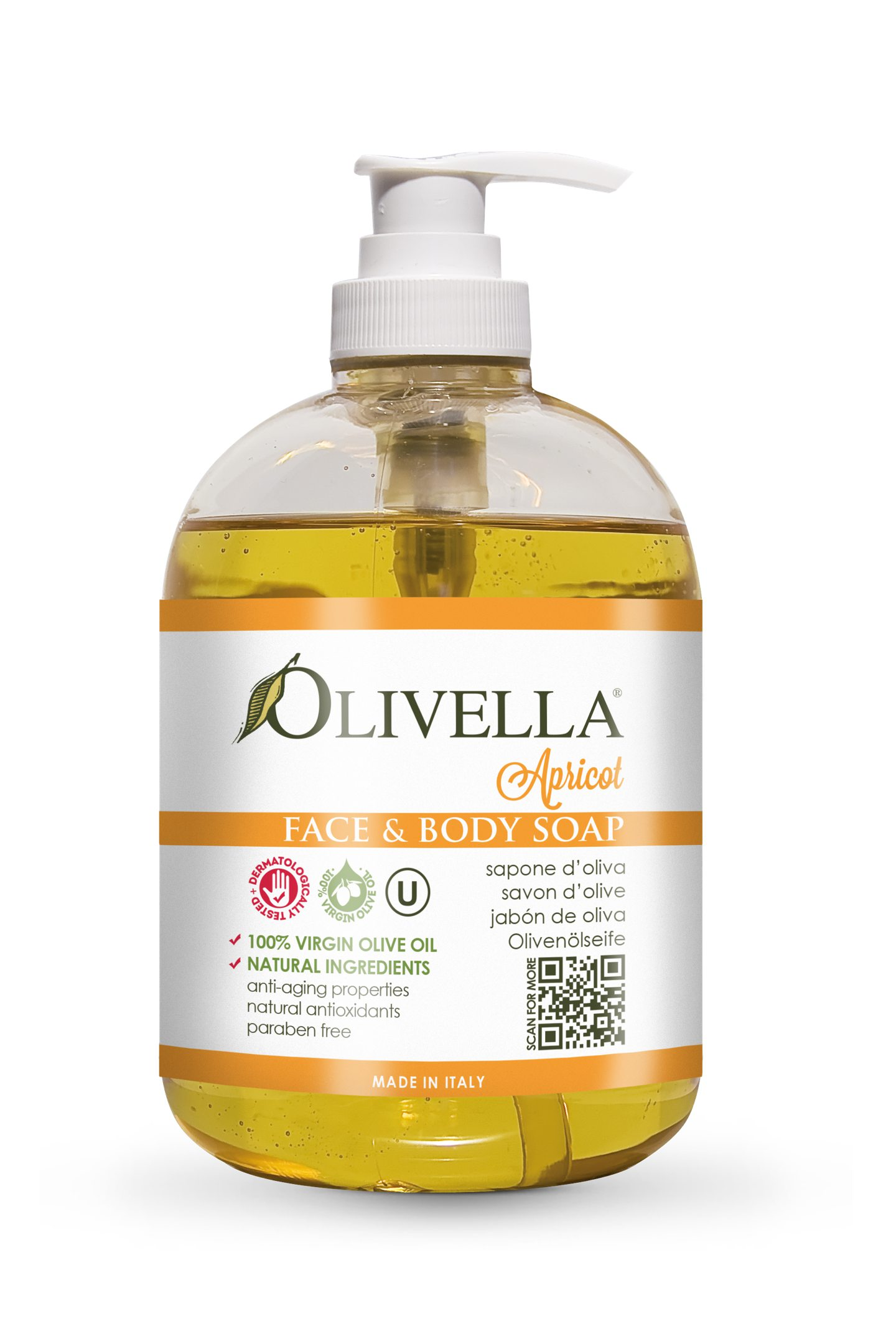 Olivella Face & Body Liquid Soap Pump - Apricot
