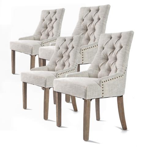 4x French Provincial Oak Leg Chair Amour - Cream 1 item