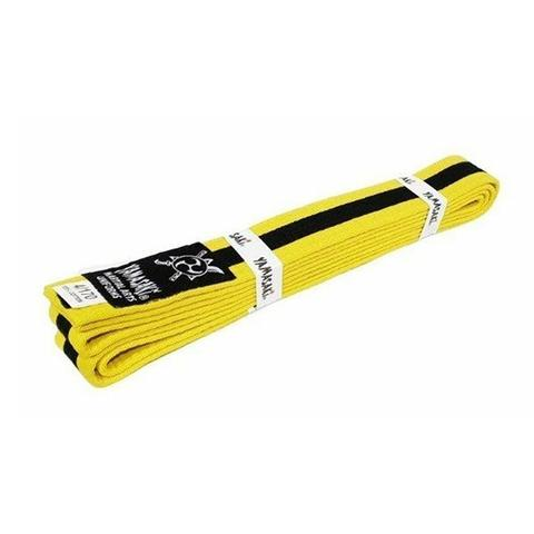 Yamasaki Coloured Martial Arts Belts With Black Stripe Yellow Black 0