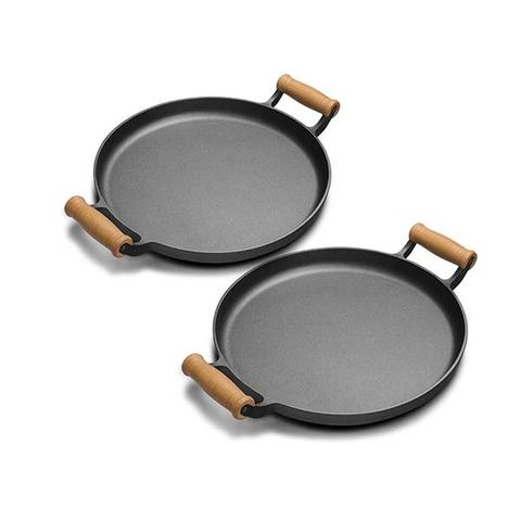 Soga 2x 31cm Cast Iron Frying Pan Skillet With Wooden Handle No Lid 1 item