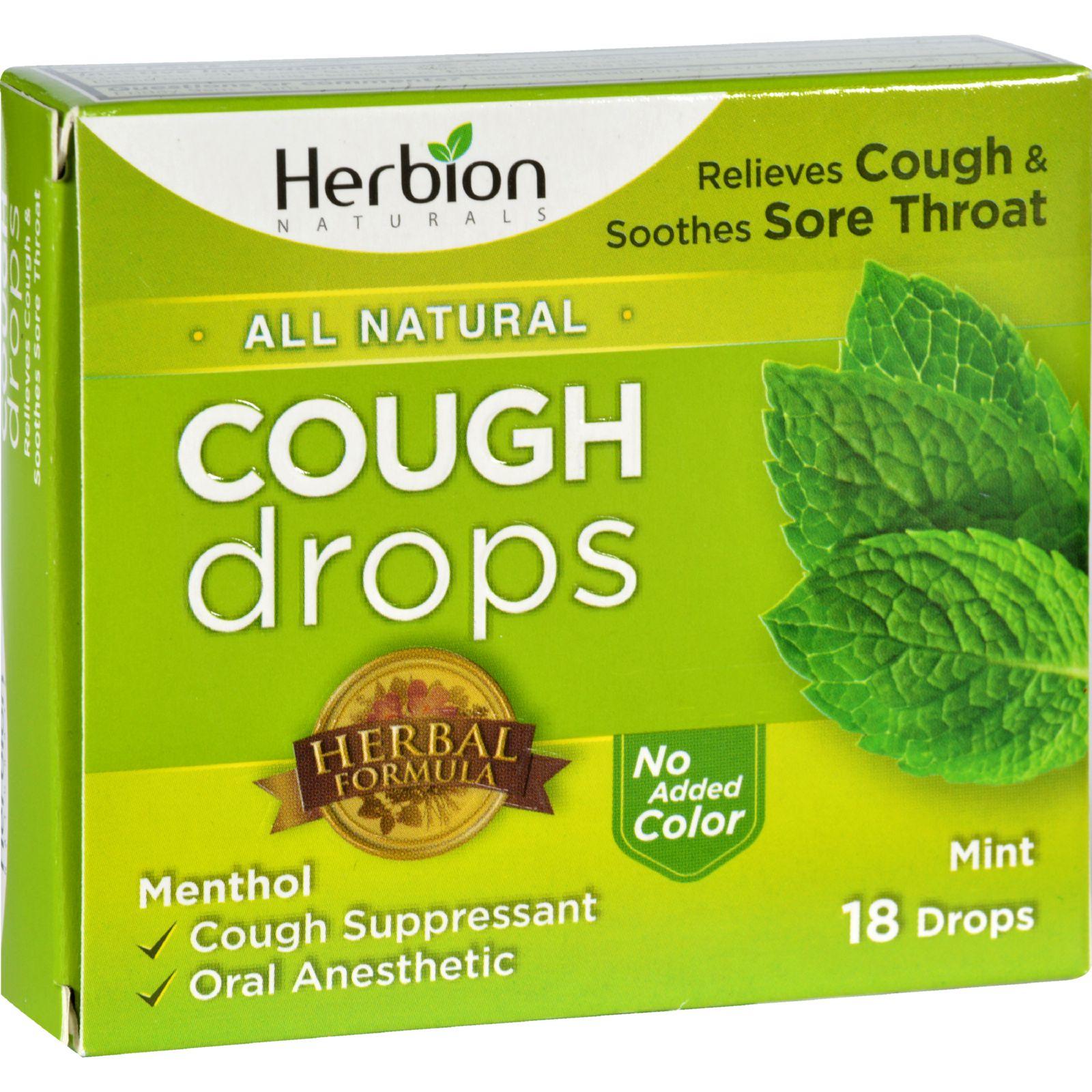 Herbion Naturals Cough Drops  All Natural  Mint  18 Drops